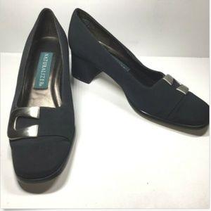 NATURALIZER Heels Black Nylon Block Heel Pumps New